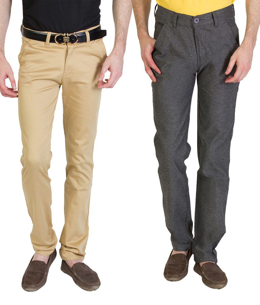 Bloos Jeans Attractive Combo Of Beige Chinos & Gray Trousers For Men