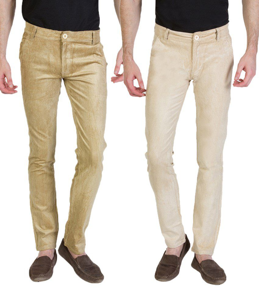 Bloos Jeans Combo Of 2 Beige & Off White Chinos For Men