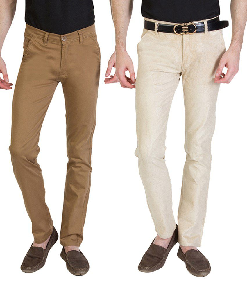 Bloos Jeans Designer Combo Of 2 Beige & Brown Chinos For Men