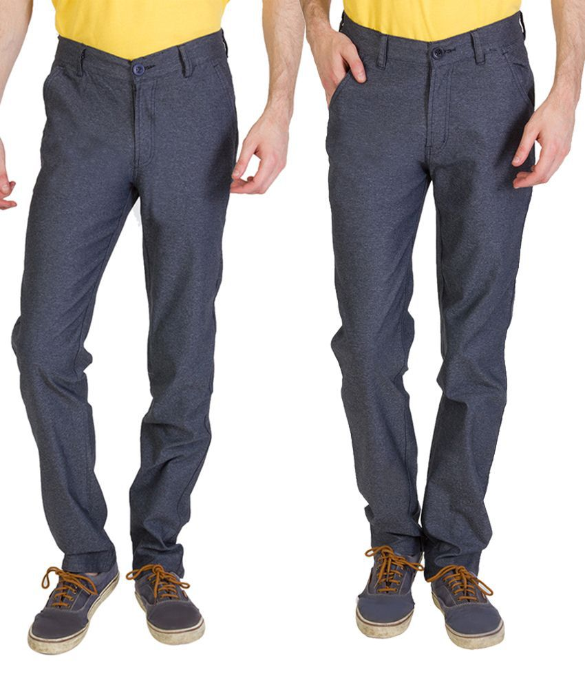 Bloos Jeans Enduring Combo Of 2 Gray Chinos For Men
