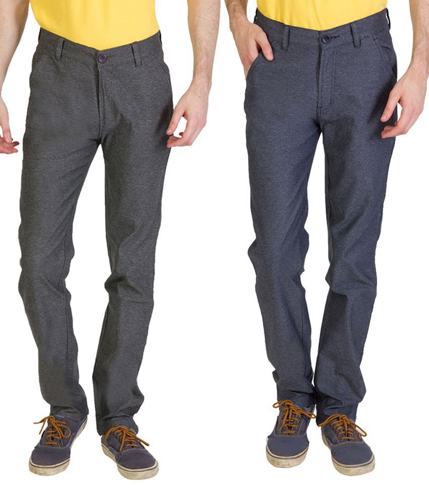 Bloos Jeans Eye Catching Combo Of 2 Black & Gray Chinos For Men