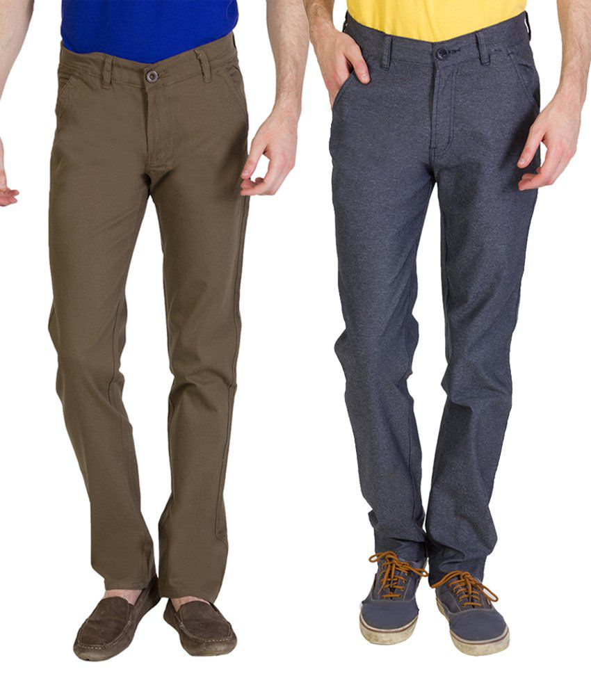 Bloos Jeans Fantastic Combo Of 2 Gray & Beige Chinos For Men