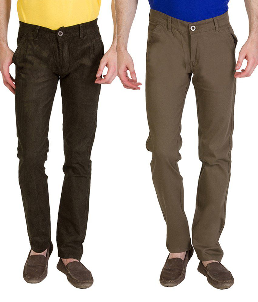 Bloos Jeans Fashionable Combo Of 2 Khaki & Green Chinos For Men