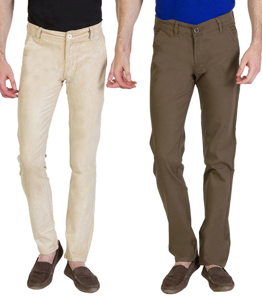 Bloos Jeans Simple Combo Of 2 Khaki & Black Chinos For Men