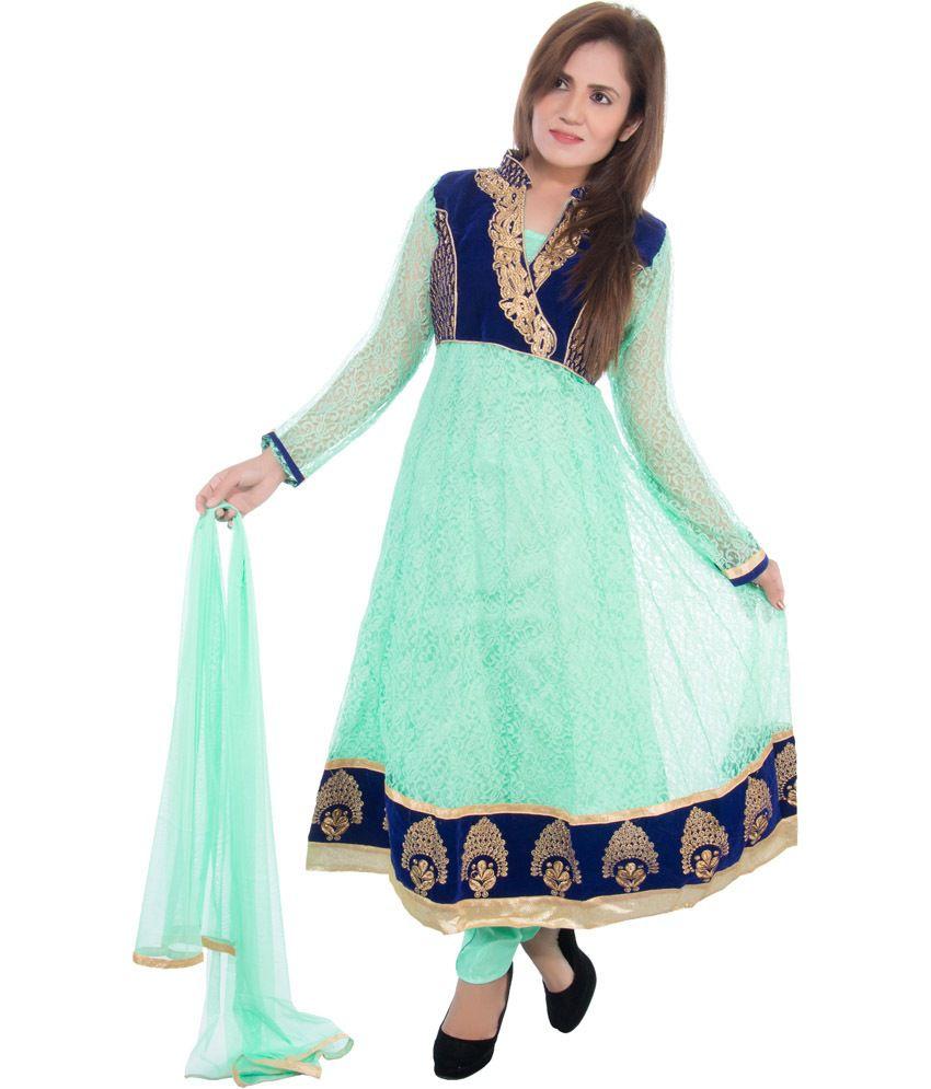Cizara Green Net Embroidered Anarkali Salwar Suit