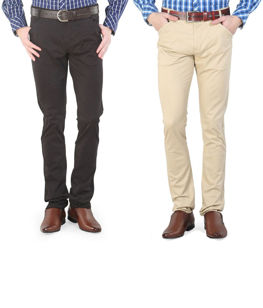 Platinum League Combo Of Beige And Brown Trousers