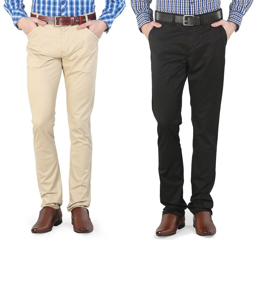 Platinum League Combo Of White And Beige Trousers