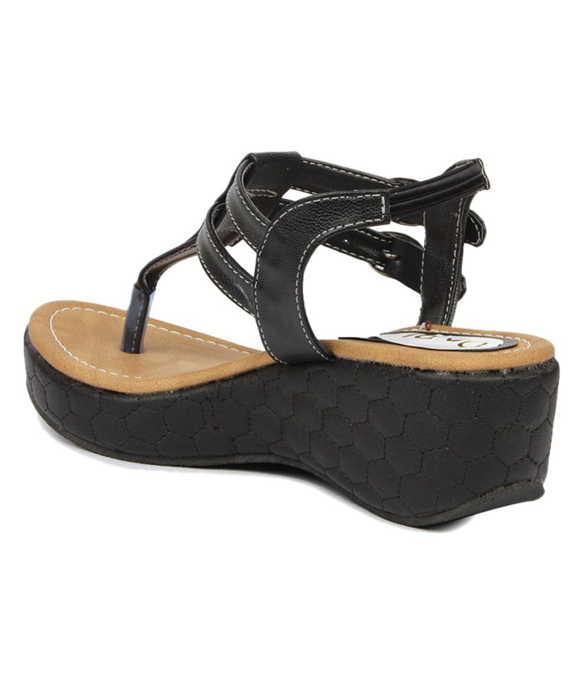 Do Bhai Black Faux Leather Heeled Sandals