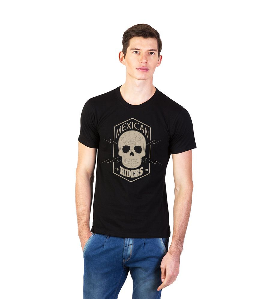 Effit Black Cotton Round Neck Printed T Shirt