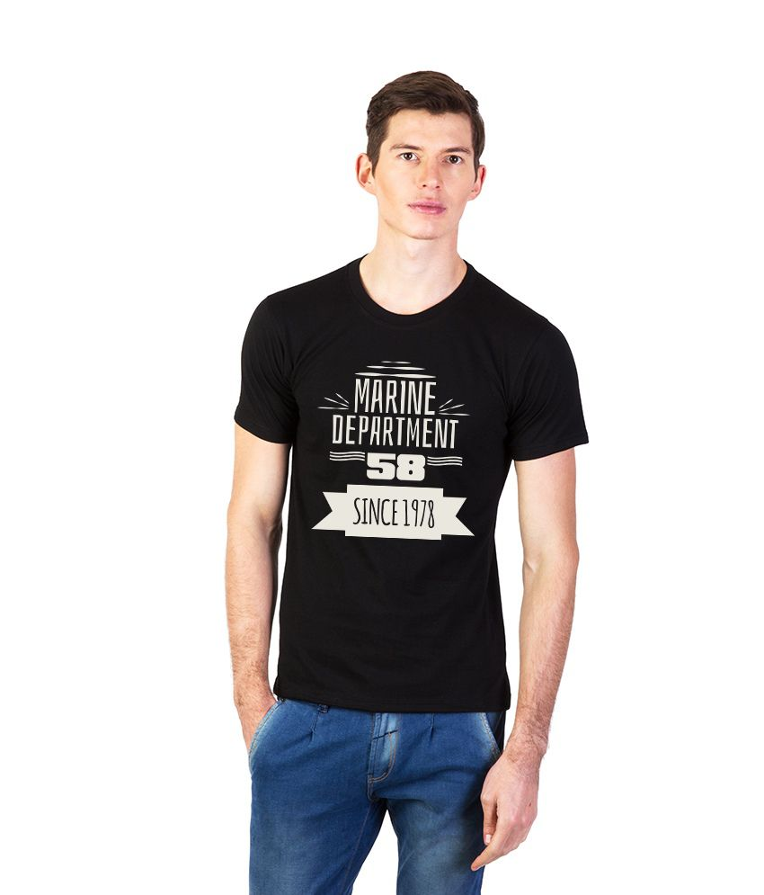 Effit Black Cotton Round Neck Printed T Shirt