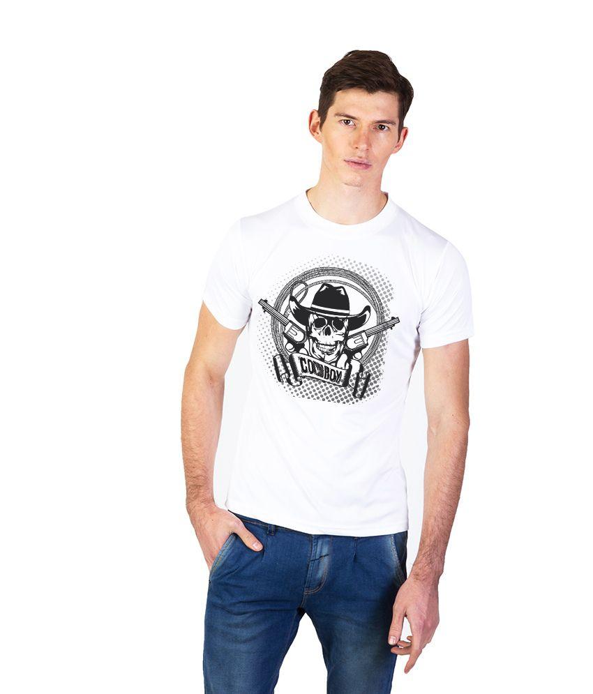 Effit White Cotton Round Neck Printed T Shirt