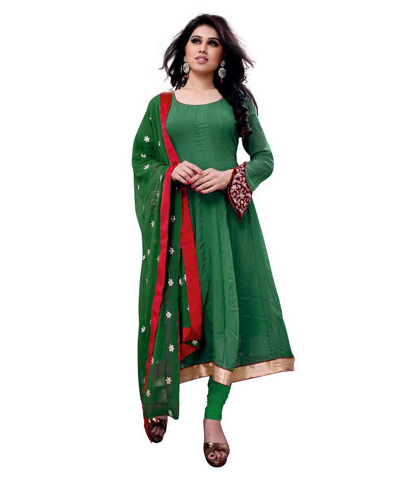 EthnicBasket Green Pure Georgette Stitched Suit