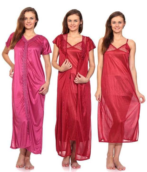 Fedrigo Maroon & Pink Satin Nighty & Night Gowns Pack of 2