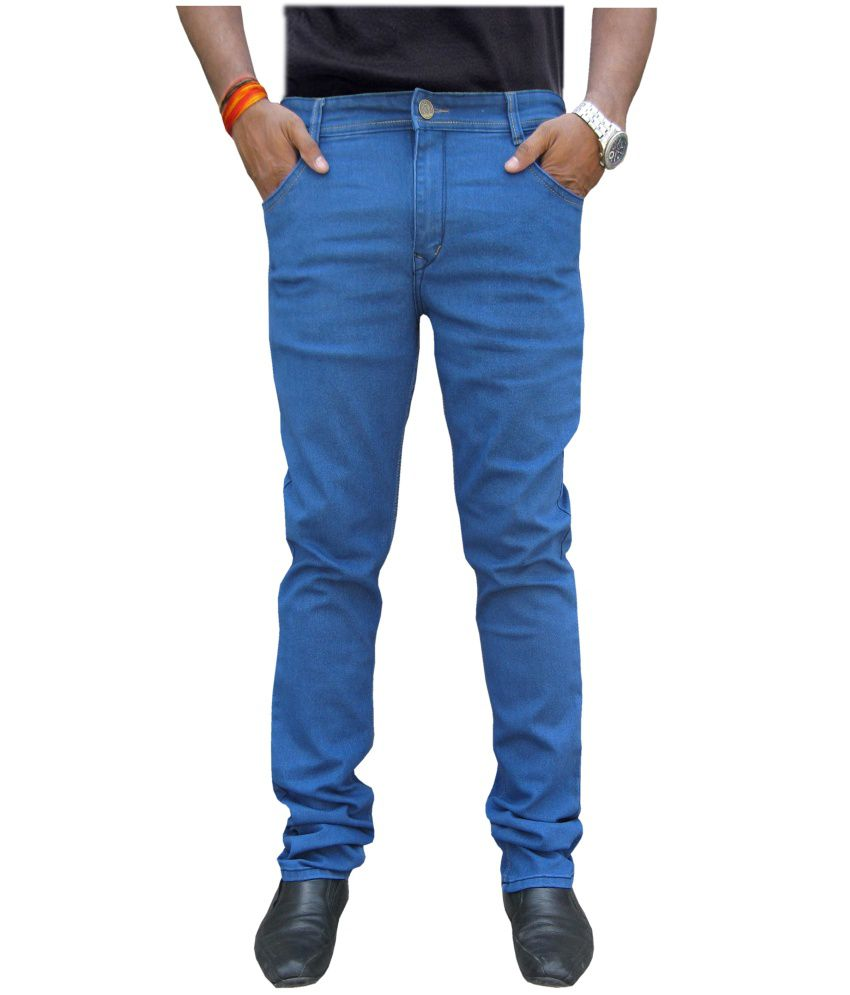 White Pelican Light Blue Cotton Blend Stretchable Slim Fit Jeans For Men