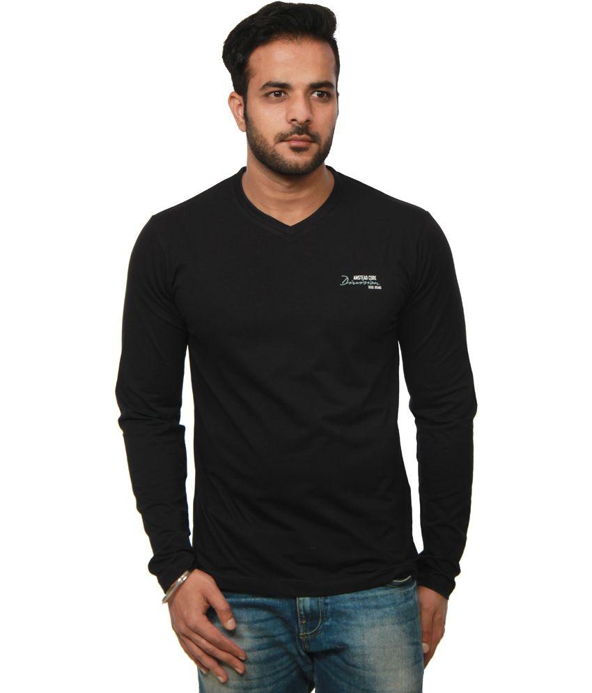Amstead Black Cotton Full Sleeves V-Neck T-Shirt