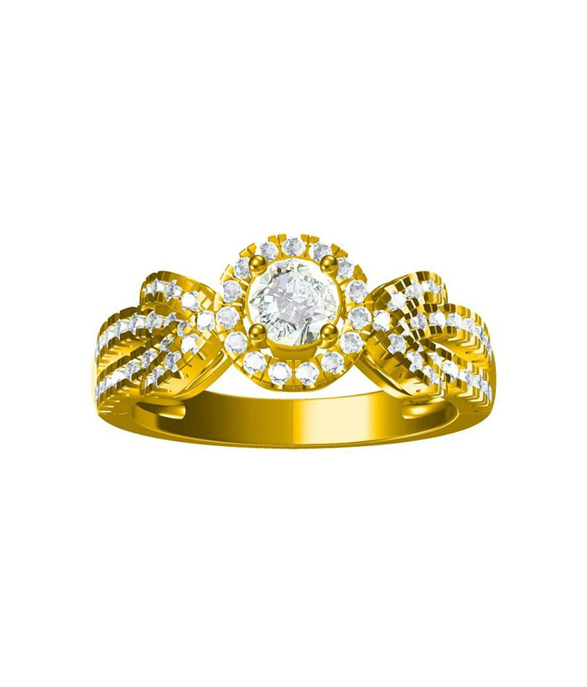 G V Jewels 92.5 Silver Cubic zirconia Gold Plated Ring