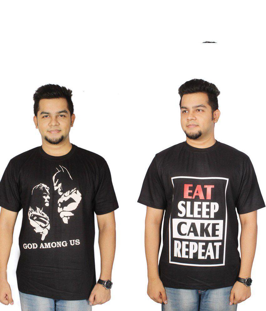 Leo Clothing Cotton Round Neck Batman, Superman & Cake T-Shirts - Pack Of 2