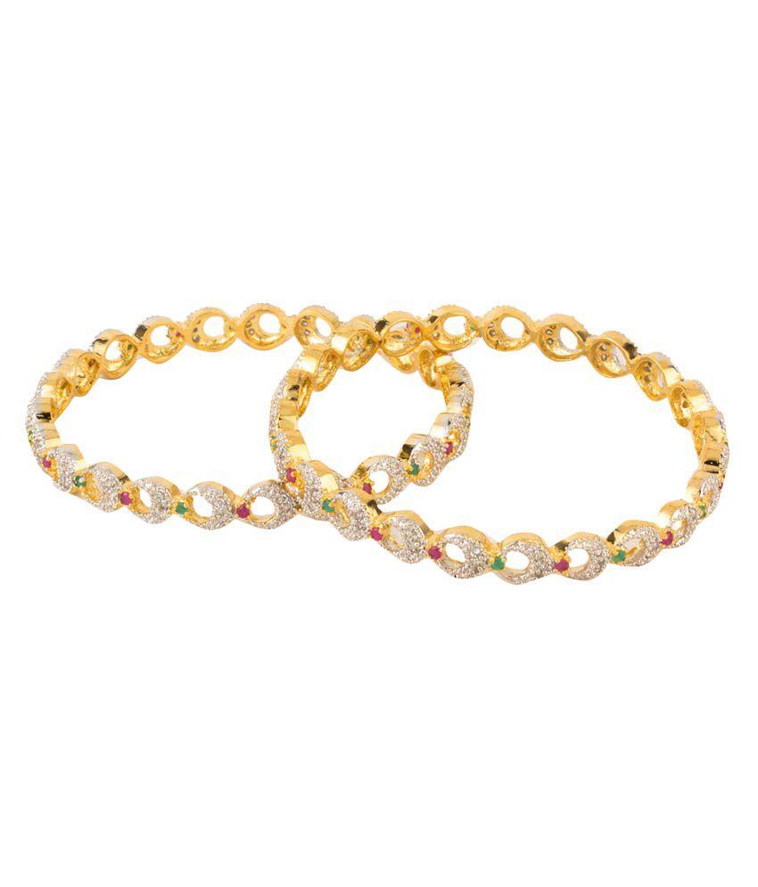 Natraj Art Multicolor Alloy Stretchable Gold Plated Bangle Set