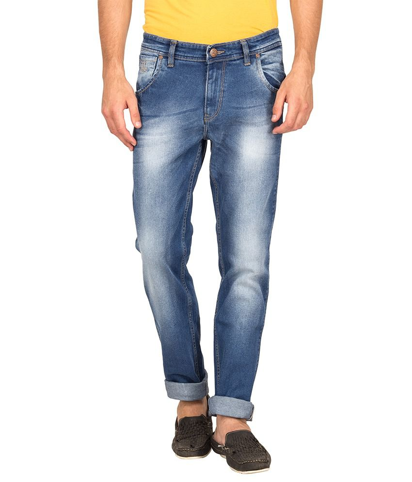 Raa Jeans Mid Blue Cotton Stretchable Denim Jeans