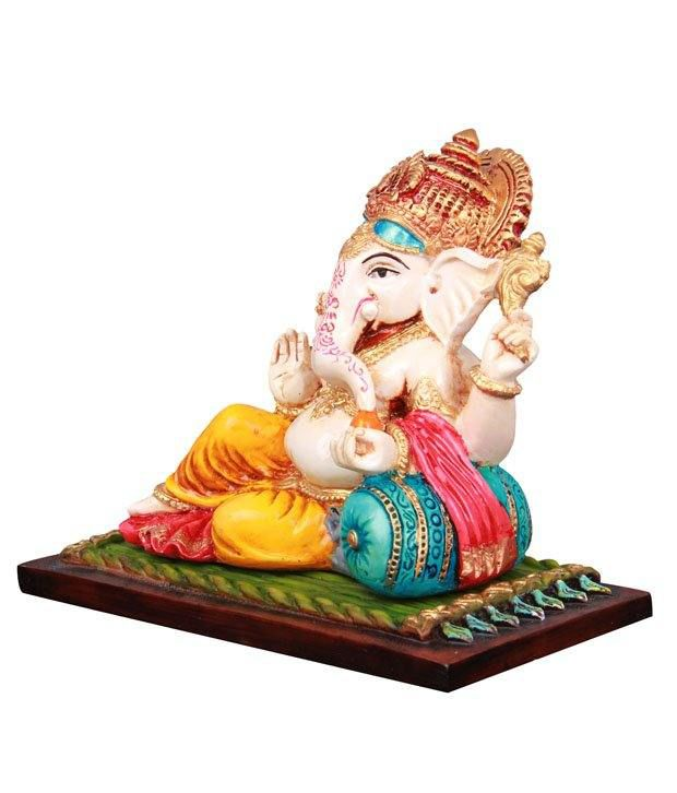 Adaa Yellow Polyresin Ganesha Idol