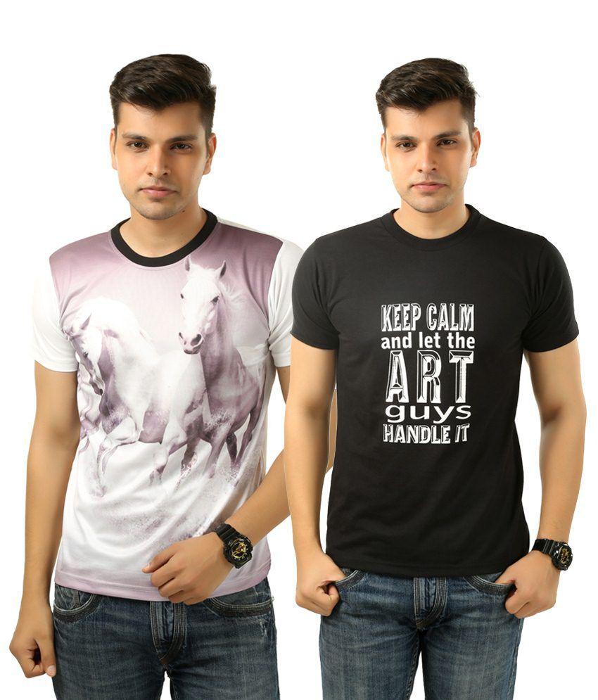Posh 7 Dashing Combo Of 2 Black & White Printed T Shirts For Men