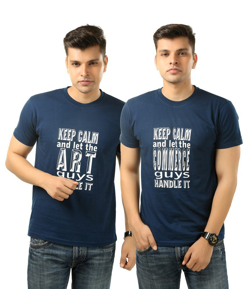 Posh 7 Nifty Combo Of 2 Blue Half Sleeve Printed Round Neck T Shirts For Men