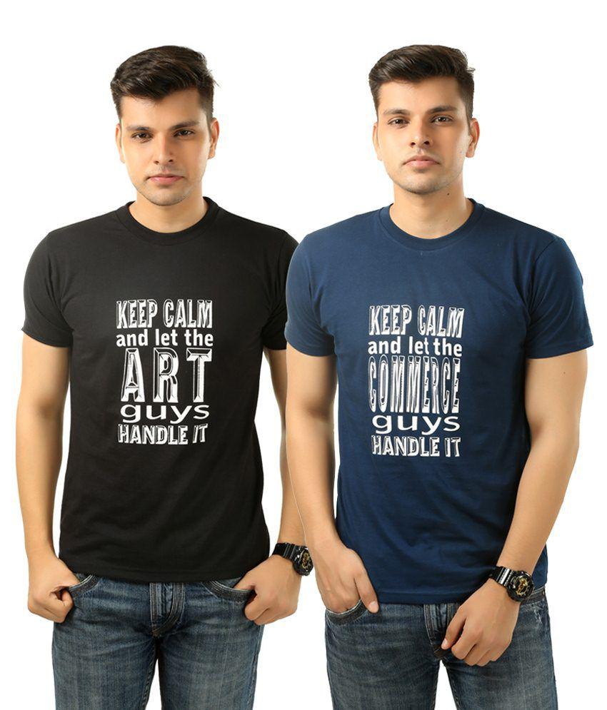 Posh 7 Unique Combo Of 2 Blue & Black Printed T Shirts For Men