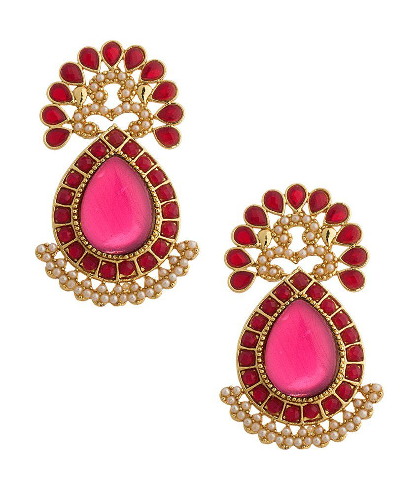 Voylla Celebration Choice Pair Of Classic Red Drop Danglers