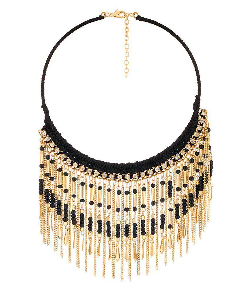 Voylla Dazzling Golden Black Charm Statement Necklace