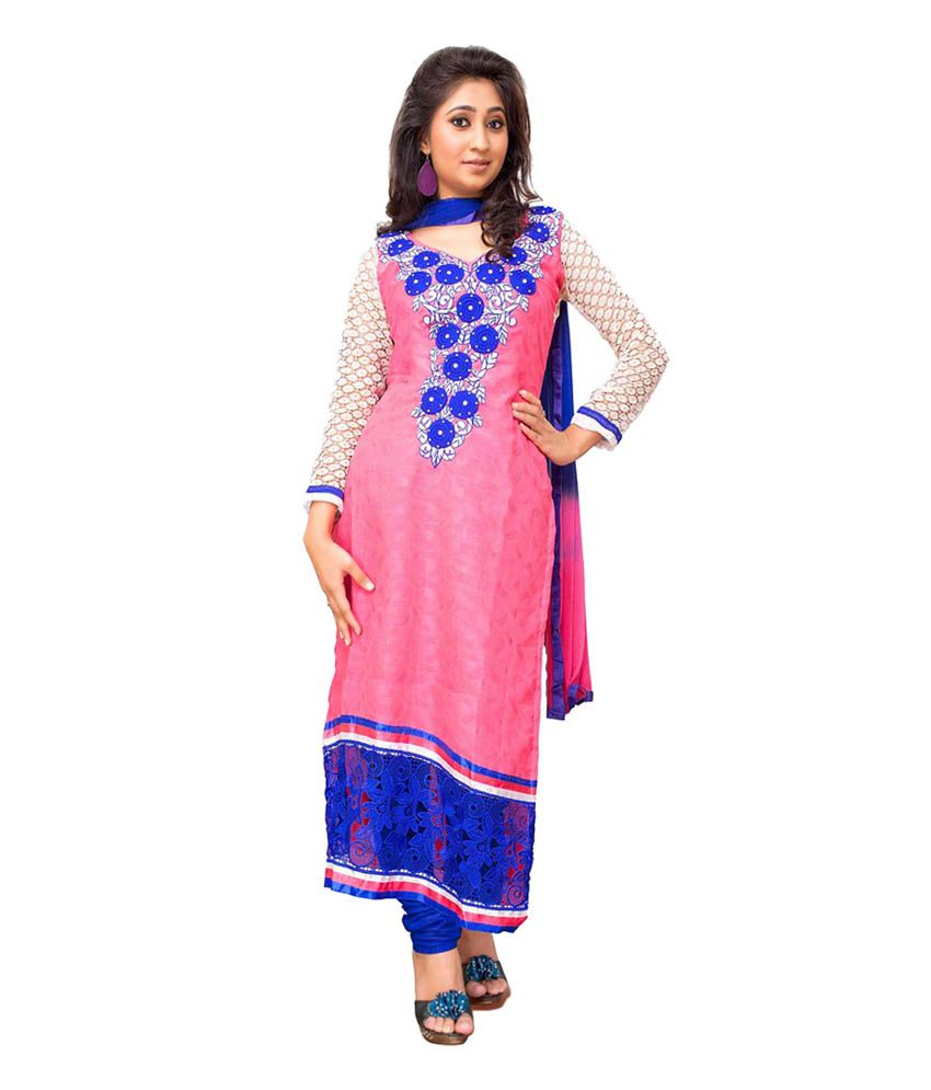 Zeel fashion Pink Cotton Unstitched Dress Material