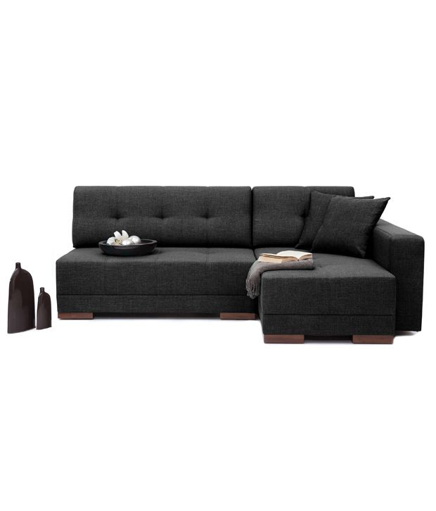 Sectional Sofa India Online: Furny Apollo Black L Shape Sectional Sofa With Right Side