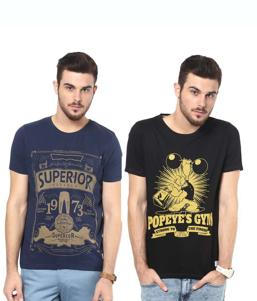 Henry and Smith Multi Printed Round Neck T Shirt Set of 2