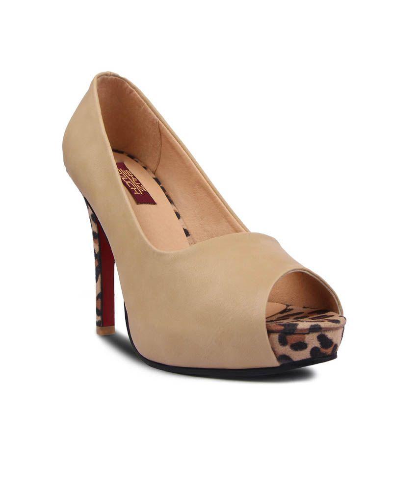 Shuz Touch Beige Faux Leather Peep Toe Pump Shoes