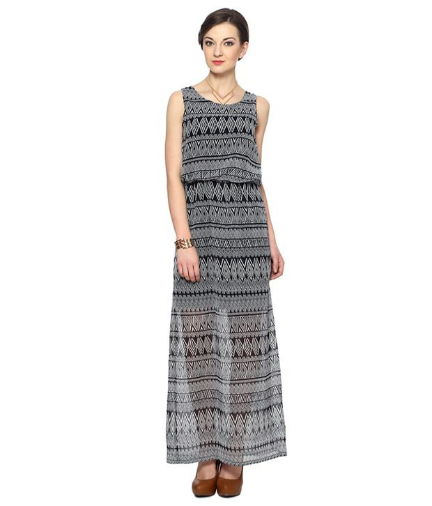 0f5a7fbc83 Van Heusen Woman Black Cotton Maxi Dress - Buy Van Heusen Woman Black Cotton  Maxi Dress Online at Best Prices in India on Snapdeal