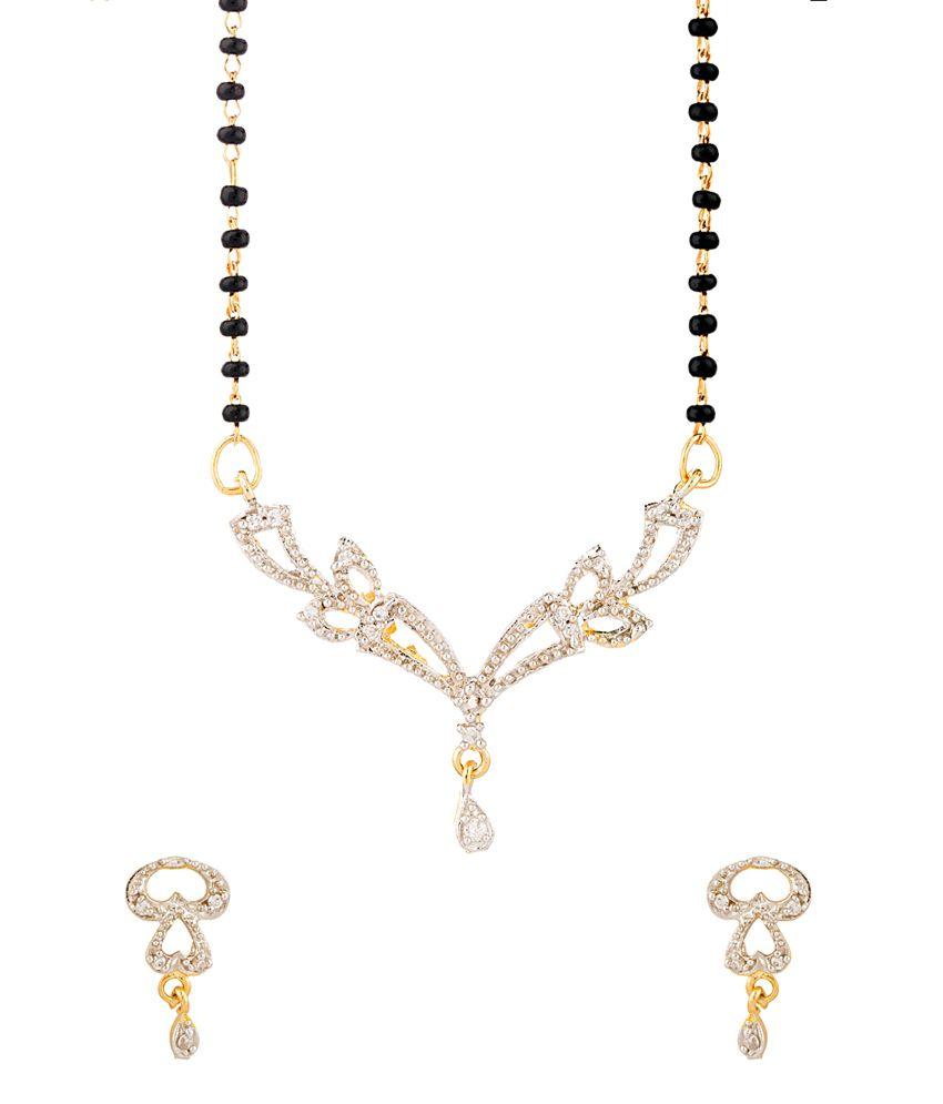 Voylla Dazzling Shine Gold Tone Single Chain Mangalsutra Set