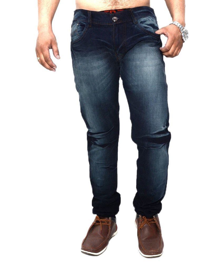 Nation Mania Dashing Blue Faded Jeans For Men