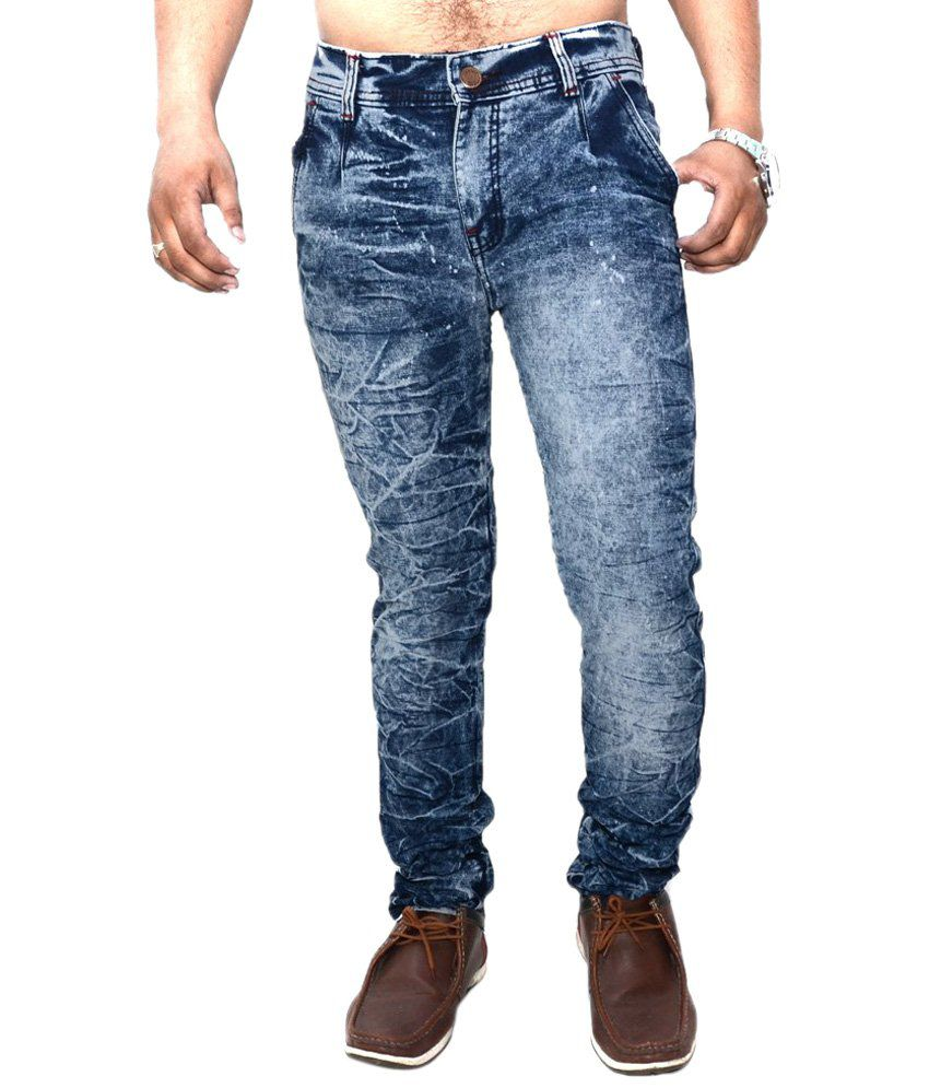 Nation Mania Fine Looking Blue Faded Jeans For Men
