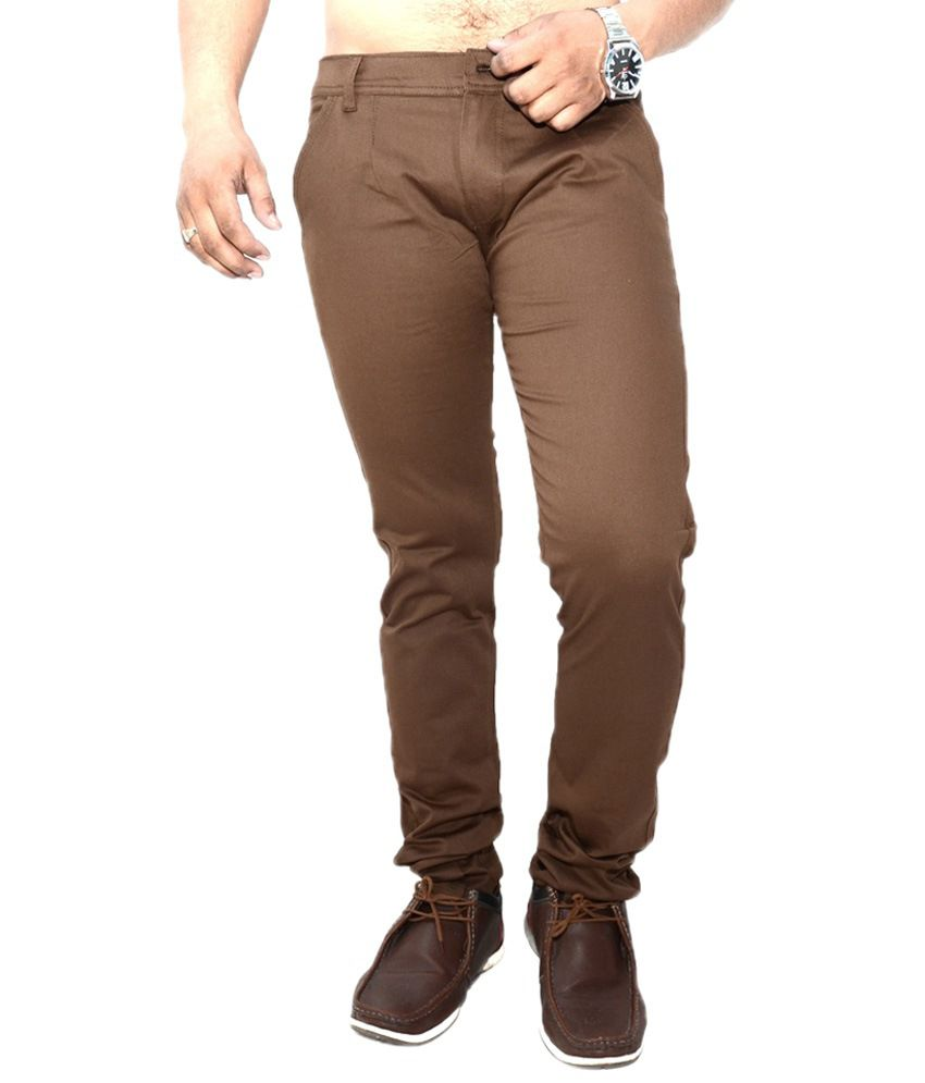 Nation Mania Stylish Brown Slim Fit Chinos For Men