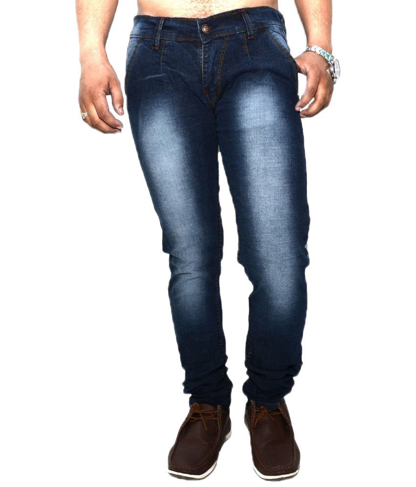 Nation Mania Trendy Blue Faded Jeans For Men