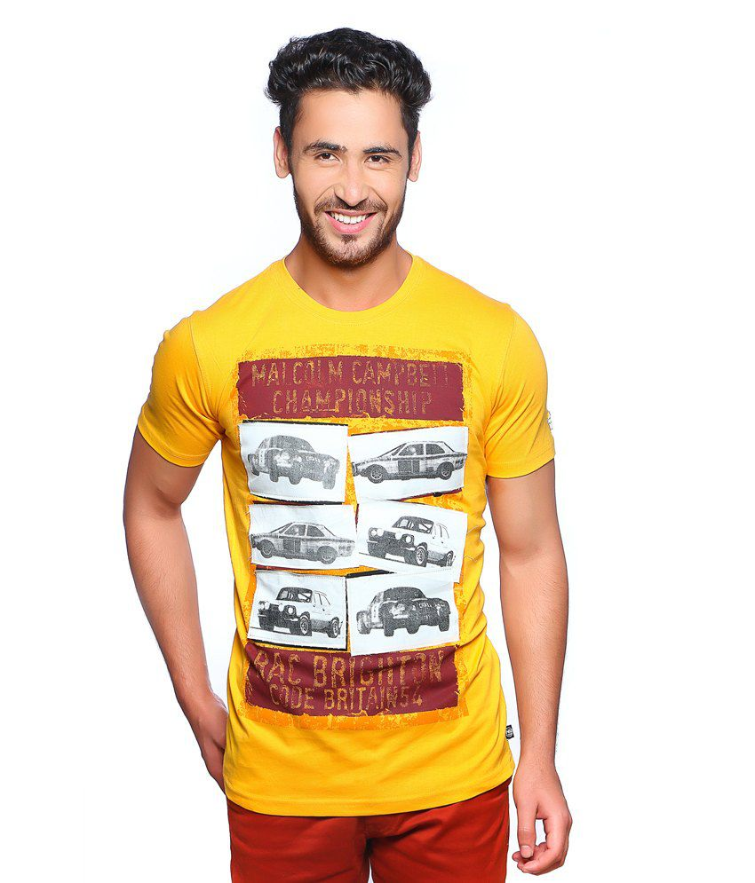 Nucode Yellow Quotes Cotton Round Neck T-shirt