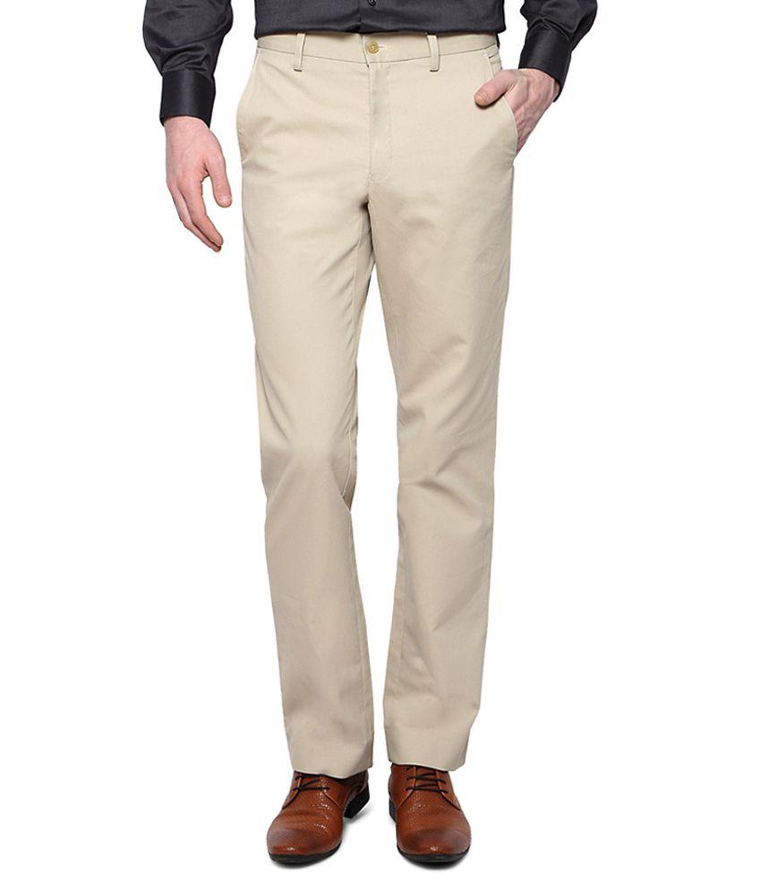 Van Heusen Beige Flat Front Trousers