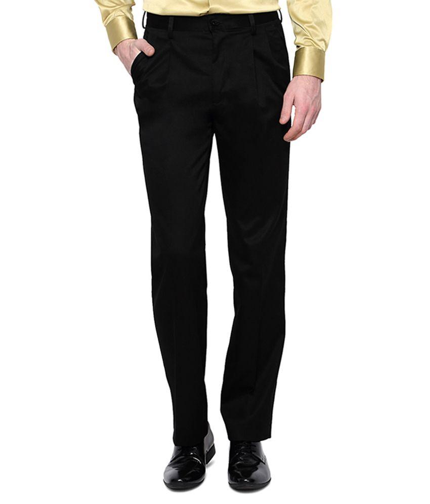 Van Heusen Black Pleated Trousers