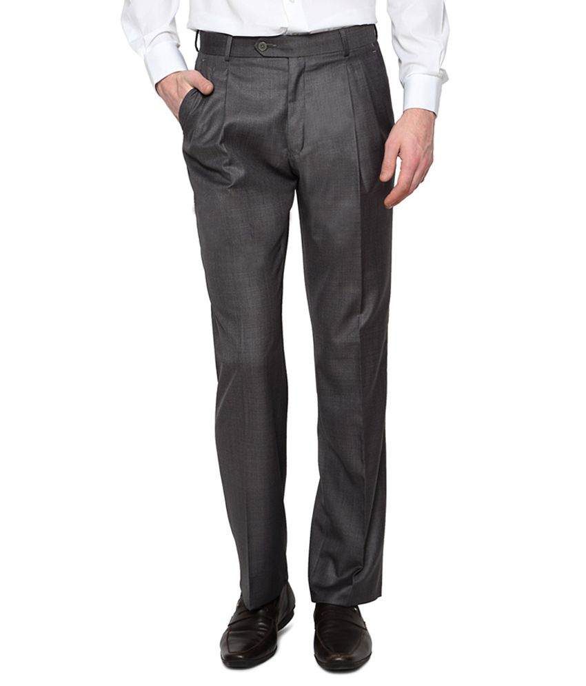 Van Heusen Grey Pleated Trousers
