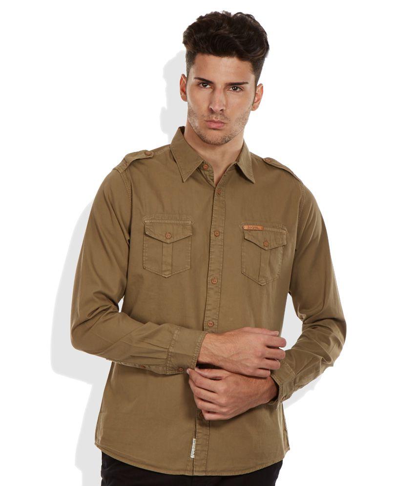 Being human khaki slim fit shirt buy being human khaki for Being human t shirts buy online india