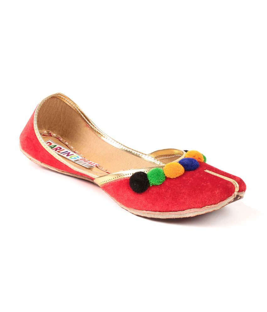 Darling Deals Red Faux Leather Round Toe Jutti