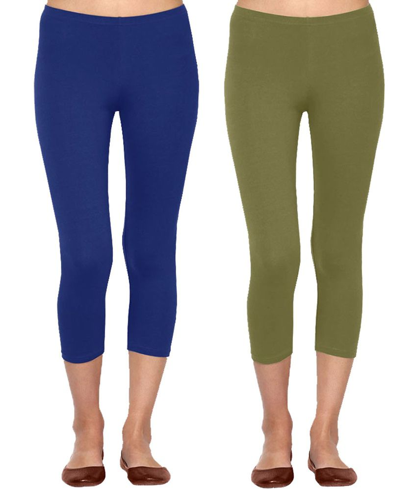 9591ed4e28f4 Buy Linking Threads Royal Blue Olive Green Cotton Capris Online at Best  Prices in India - Snapdeal