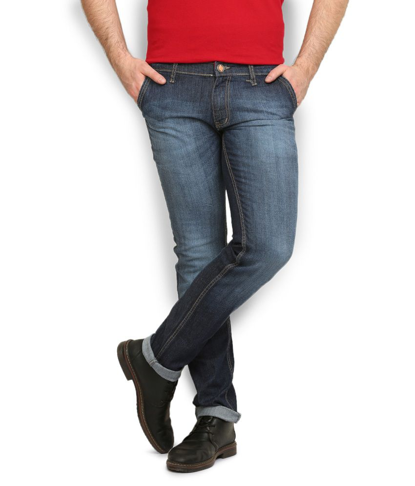 Police Navy Cotton Slim Jeans