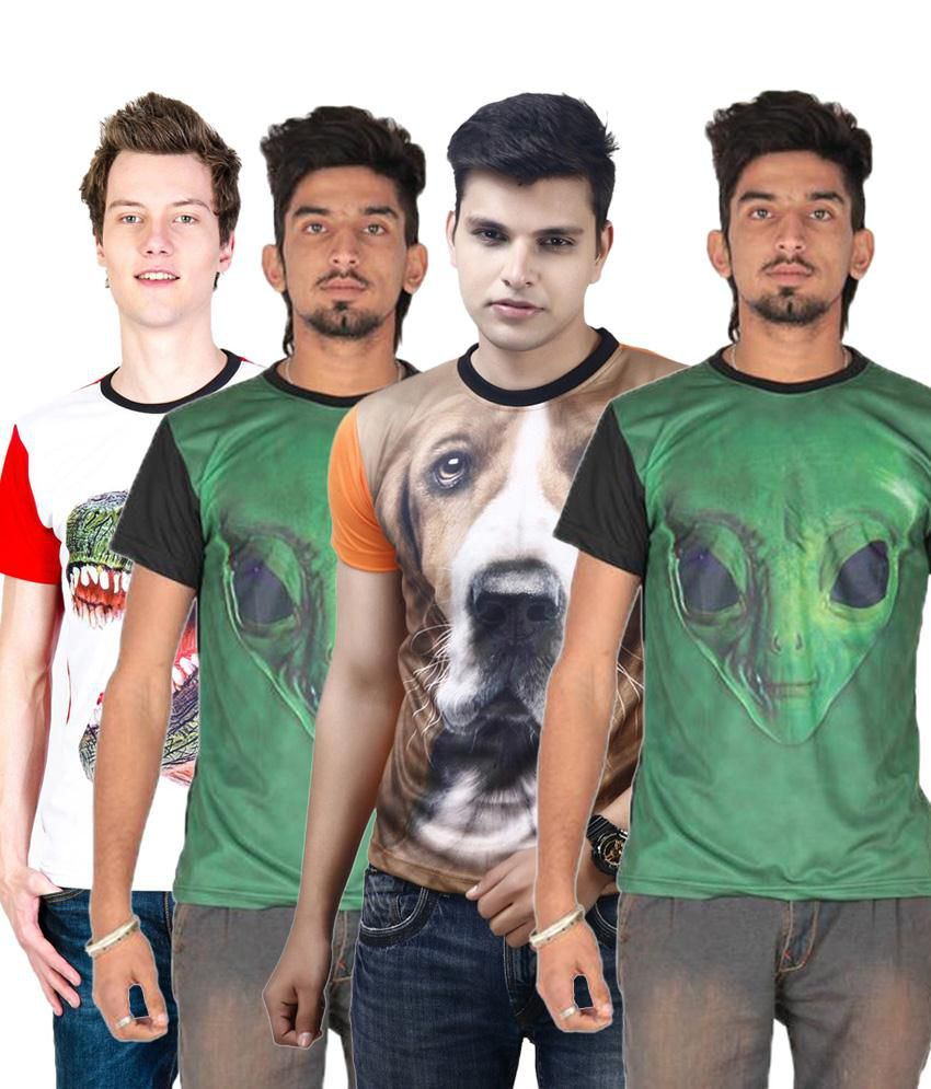 Posh 7 Remarkable Multicolour Combo Of 4 3D Printed Round Neck T Shirts For Men