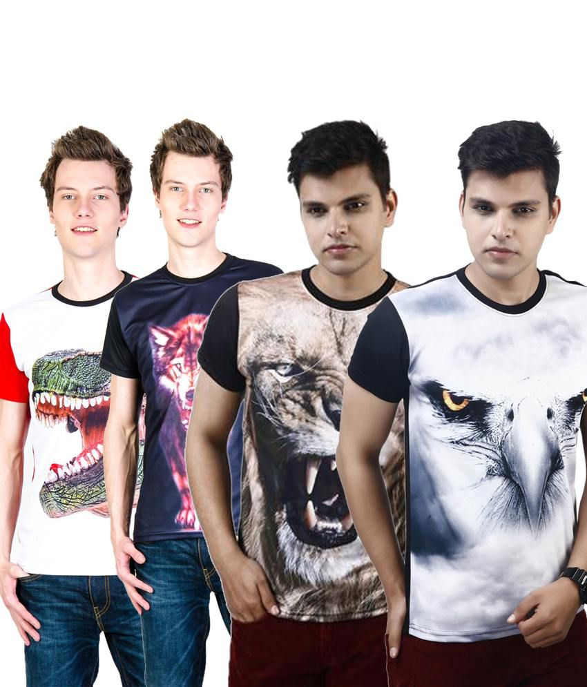 Posh 7 Simple Multicolour Combo Of 4 3D Printed Round Neck T Shirts For Men