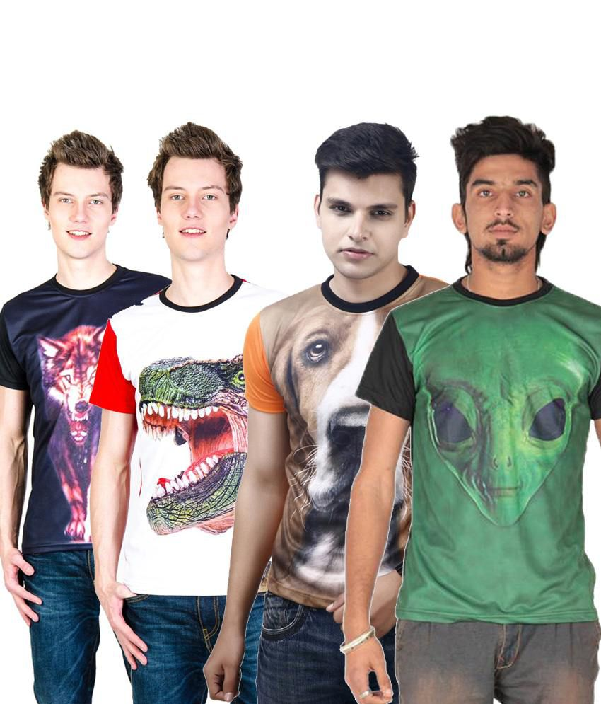 Posh 7 Sober Multicolour Combo Of 4 3D Printed Half Sleeve T Shirts For Men